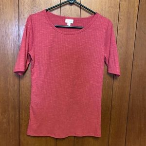 LuLaRoe ribbed coral Classic tee Small NWOT